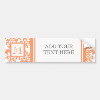 Your Monogram, Orange Damask Pattern 2    Product Car Bumper Sticker