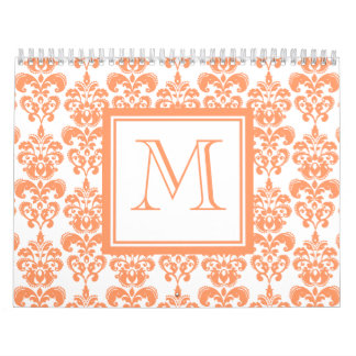 Your Monogram, Orange Damask Pattern 2    Product Calendar
