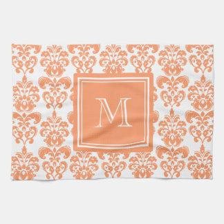 Your Monogram, Orange Damask Pattern 2    Product Hand Towel