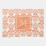 Your Monogram, Orange Damask Pattern 2    Product Kitchen Towels