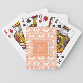 Your Monogram, Orange Damask Pattern 2    Product Deck Of Cards