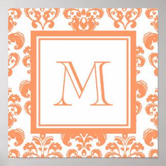 Your Monogram, Orange Damask Pattern 2    Product Poster
