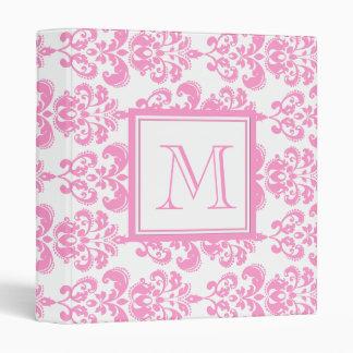 Your Monogram, Pink Damask Pattern 2 Binder