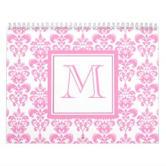 Your Monogram, Pink Damask Pattern 2 Calendars