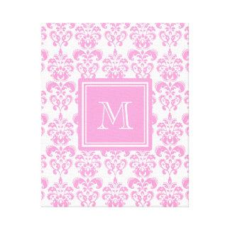 Your Monogram, Pink Damask Pattern 2 Canvas Print