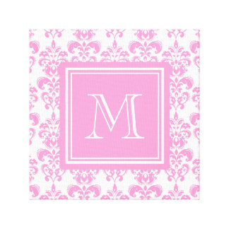 Your Monogram, Pink Damask Pattern 2 Stretched Canvas Print