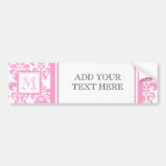 Your Monogram, Pink Damask Pattern 2 Car Bumper Sticker