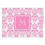 Your Monogram, Pink Damask Pattern 2 Stationery Note Card