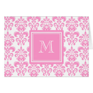 Your Monogram, Pink Damask Pattern 2 Card