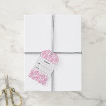 Your Monogram, Pink Damask Pattern 2 Gift Tags