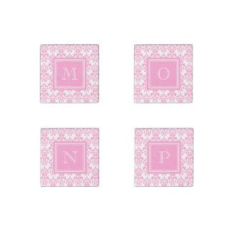 Your Monogram, Pink Damask Pattern 2 Stone Magnet
