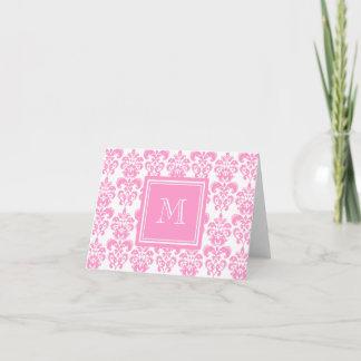 Your Monogram, Pink Damask Pattern 2 Note Card