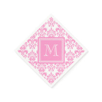 Your Monogram, Pink Damask Pattern 2 Paper Napkin