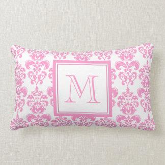 Your Monogram, Pink Damask Pattern 2 Pillows