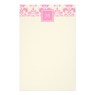 Your Monogram, Pink Damask Pattern 2 Stationery