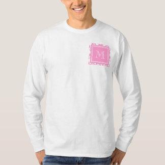 Your Monogram, Pink Damask Pattern 2 T-Shirt