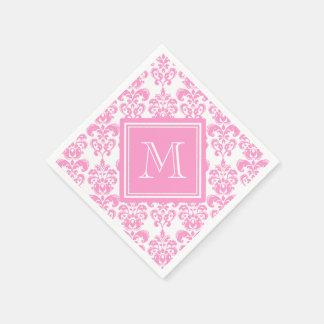 Your Monogram Pink Damask Pattern 2 Paper Napkins