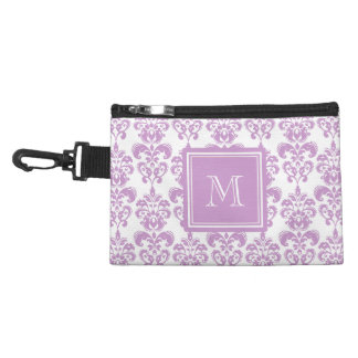 Your Monogram, Purple Damask Pattern 2 Accessories Bags