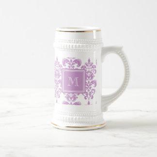 Your Monogram, Purple Damask Pattern 2 Beer Stein
