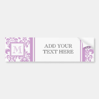 Your Monogram, Purple Damask Pattern 2 Bumper Sticker