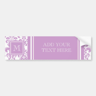 Your Monogram, Purple Damask Pattern 2 Car Bumper Sticker
