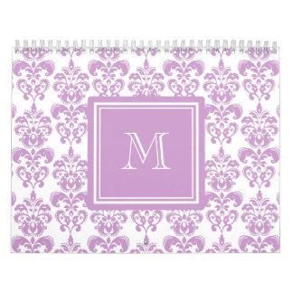 Your Monogram, Purple Damask Pattern 2 Wall Calendars