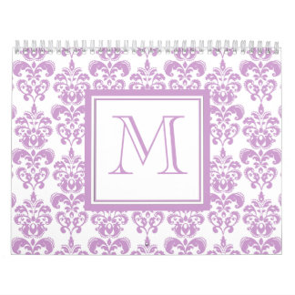 Your Monogram, Purple Damask Pattern 2 Calendar