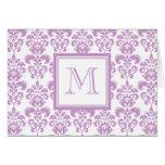 Your Monogram, Purple Damask Pattern 2 Cards
