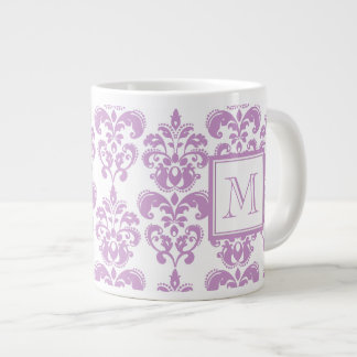 Your Monogram, Purple Damask Pattern 2 Giant Coffee Mug