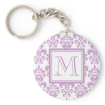 Your Monogram, Purple Damask Pattern 2 Keychain