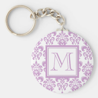 Your Monogram, Purple Damask Pattern 2 Keychain