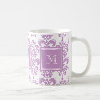 Your Monogram, Purple Damask Pattern 2 Classic White Coffee Mug