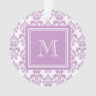 Your Monogram, Purple Damask Pattern 2 Ornament