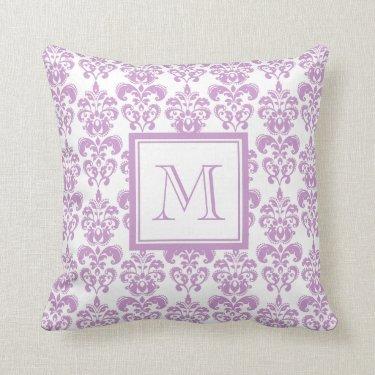 Your Monogram, Purple Damask Pattern 2 Throw Pillows