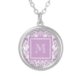 Your Monogram, Purple Damask Pattern 2 Round Pendant Necklace
