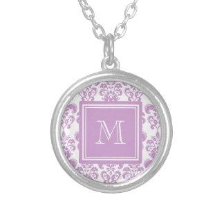 Your Monogram, Purple Damask Pattern 2 Round Pendant Necklace