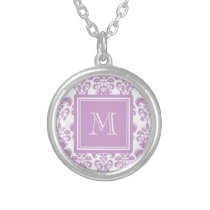Your Monogram, Purple Damask Pattern 2 Silver Plated Necklace