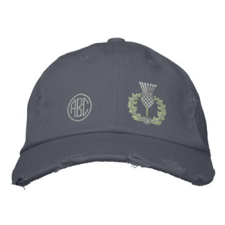 Your Monogram Scottish Thistle Scotland in silver Embroidered Baseball Cap