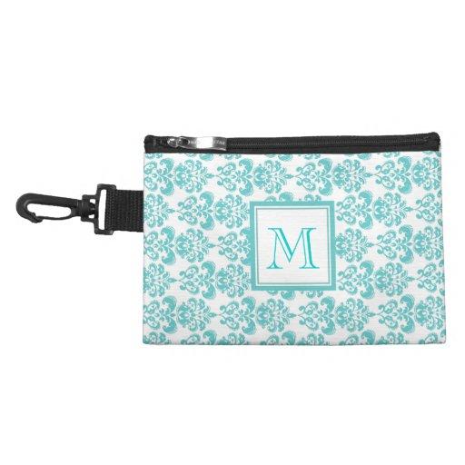 Your Monogram, Teal Damask Pattern 2 Accessory Bag