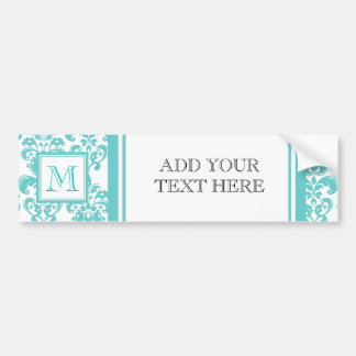 Your Monogram, Teal Damask Pattern 2 Car Bumper Sticker