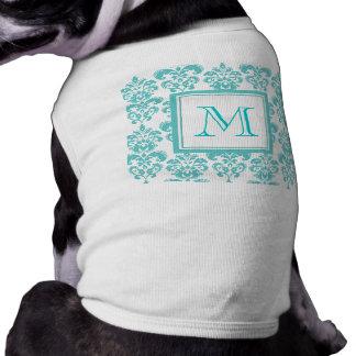 Your Monogram, Teal Damask Pattern 2 Pet Clothing