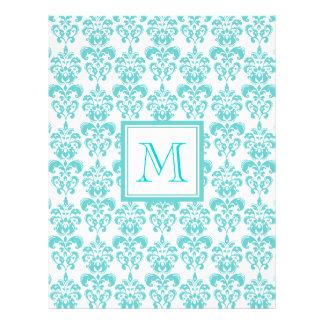 Your Monogram, Teal Damask Pattern 2 Flyer Design