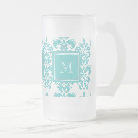 Your Monogram, Teal Damask Pattern 2 Frosted Glass Beer Mug