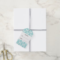 Your Monogram, Teal Damask Pattern 2 Gift Tags