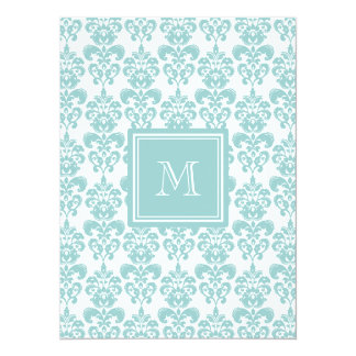 Your Monogram, Teal Damask Pattern 2 5.5x7.5 Paper Invitation Card