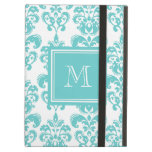 Your Monogram, Teal Damask Pattern 2 iPad Air Cases
