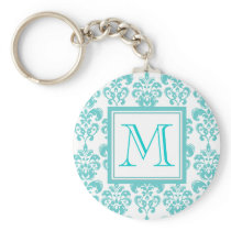 Your Monogram, Teal Damask Pattern 2 Keychain