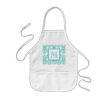 Your Monogram, Teal Damask Pattern 2 Kids' Apron