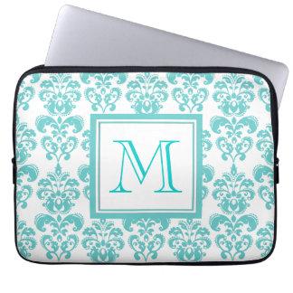 Your Monogram Teal Damask Pattern 2 Laptop Sleeve