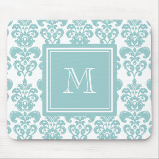 Your Monogram, Teal Damask Pattern 2 Mouse Pad